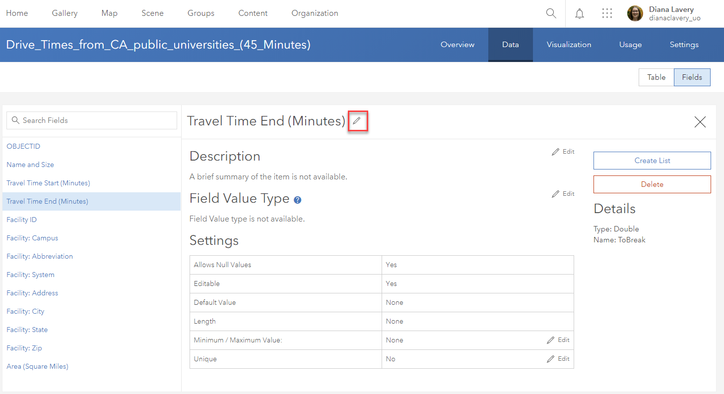 "Screenshot of the Data tab within the Item Details. Fields view is selected, and the field called ""Travel Time End (Minutes)"" is selected as an example. A pencil icon next to this field's name is highllighted with a red square to show that this is how you can edit any field metadata."