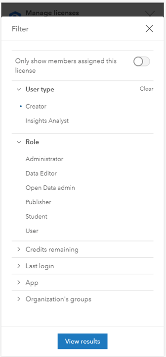 Filter window for the manage licenses workflow set to search members by the Creator user type.