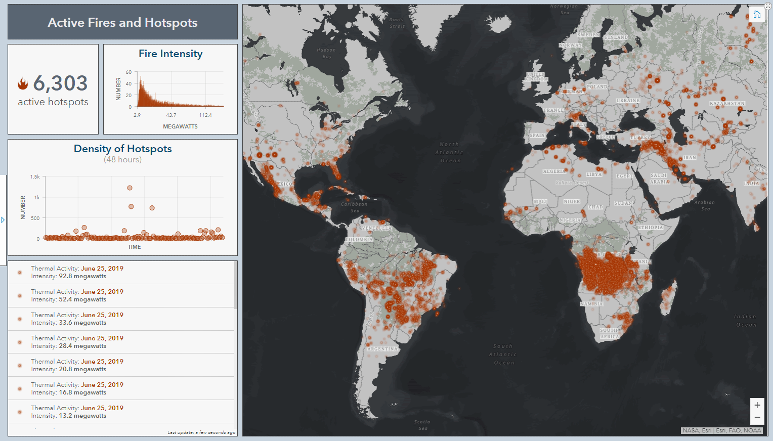 global fires displayed in Operations Dashboard