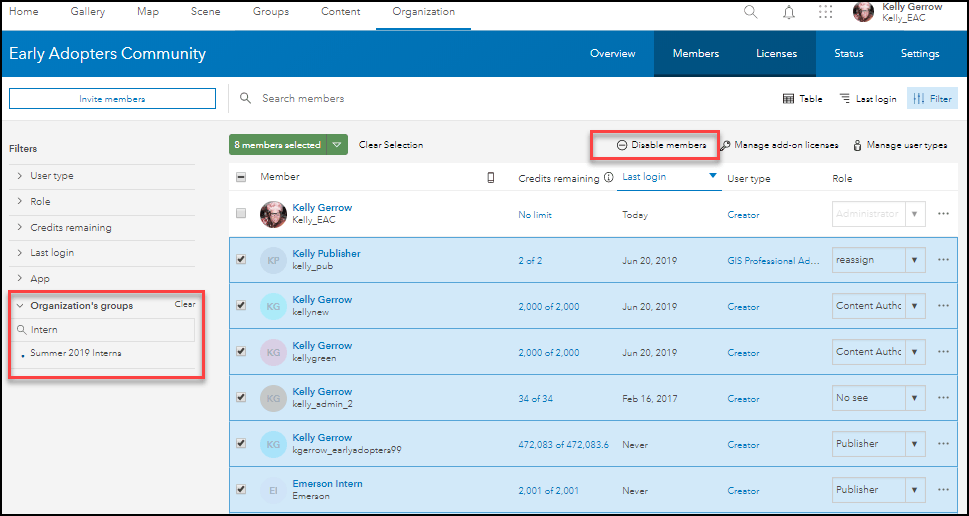 Members tab. Shows filtering members by Summer Interns 2019 group and highlights the ability to bulk disable all of the selected members.