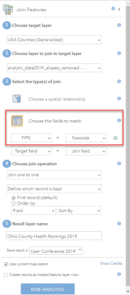 "The Join Features dialogue box has a red square highlighting the ""Choose fields to match"" option and the two fields used are ""FIPS = fipscode"""
