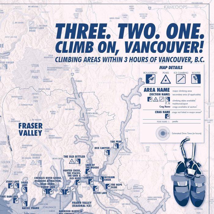 Vancouver rock climbing map legend
