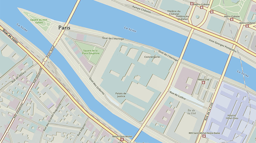 Part of the Esri National Geographic Style map showing part of Central Paris