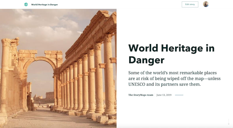 The cover layout of World Heritage in Danger; a split screen with a photo of ancient Greek columns and the title and subtitle of the story
