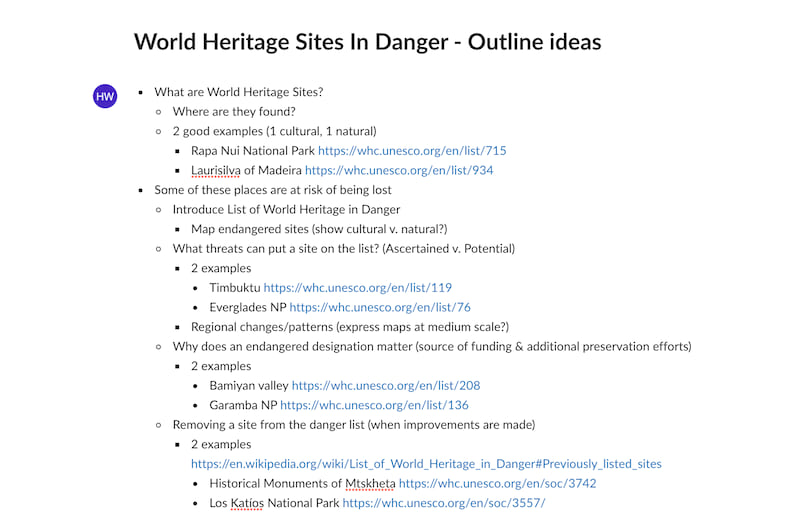 A photo of our World Heritage outline, which consisted of a hierarchical bulleted list in a shared online document