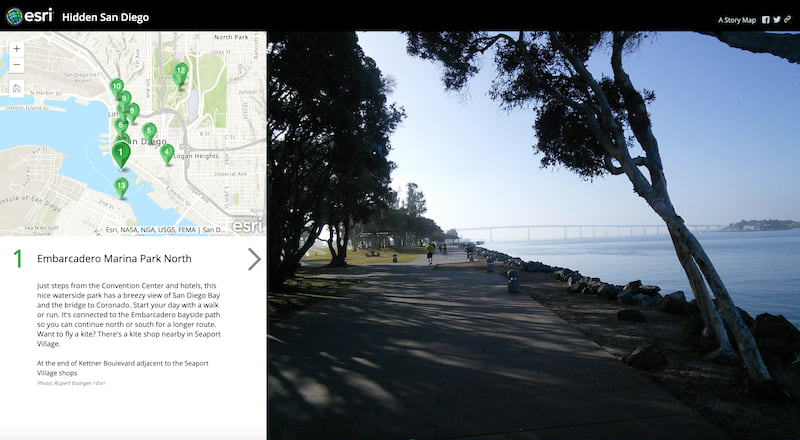 A screenshot of the Hidden San Diego Map Tour, showing Embarcadero Marina Park North