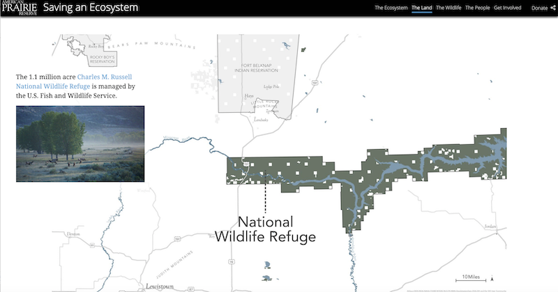 A screenshot of the story map showing an immersive section featuring a map of the Charles M Russell wildlife refuge and a floating caption that includes a link for the curious reader to learn more.