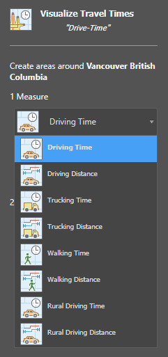 "Select ""Driving Time"" from the Travel Times options"