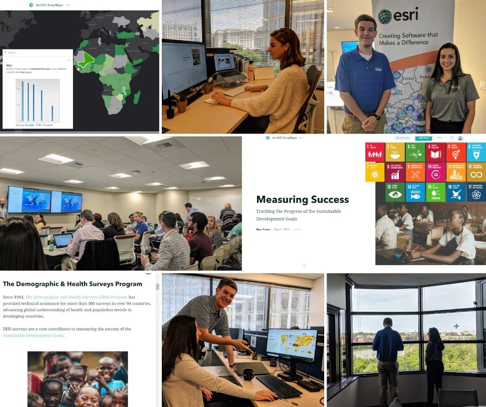 A collage of Blue Raster interns as work on a story map