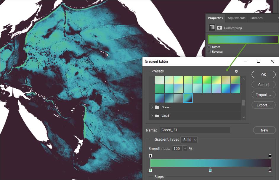 Bathymetry gradient map