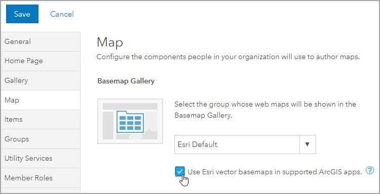 Set vector basemap default