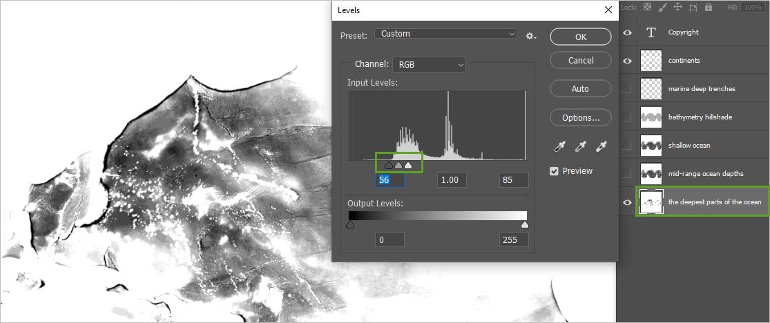 Adjusting levels in Photoshop