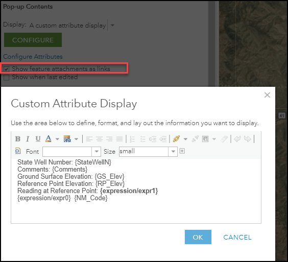 Custom attribute configuration of a pop-up and the show feature attachments as links option enabled.