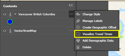"Select ""Visualize Travel Times"" from the layer's flyout menu"