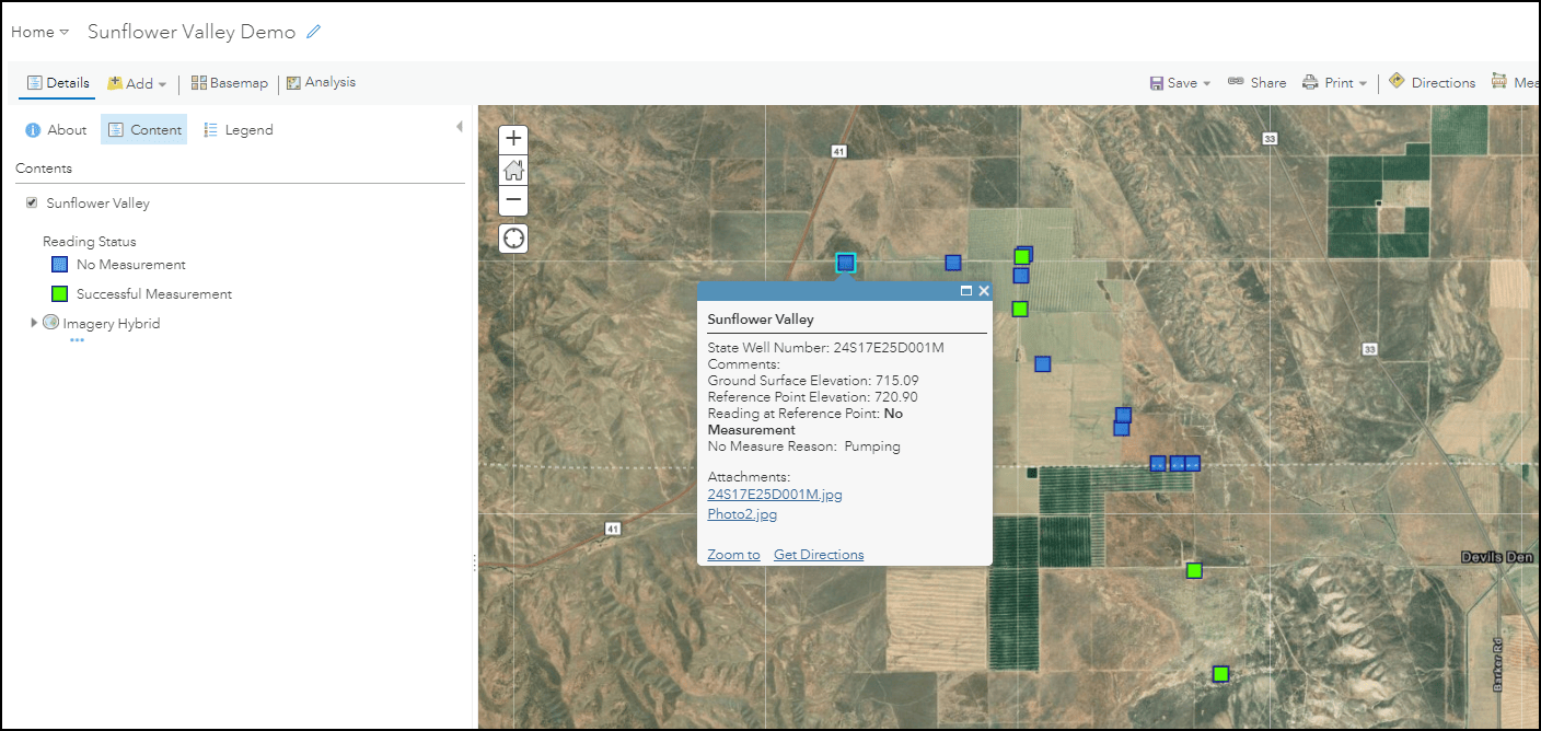 Web map with symbology, imagery-hybrid basemap, extent including all features, and a configured pop-up showing the well locations in Sunflower Valley.