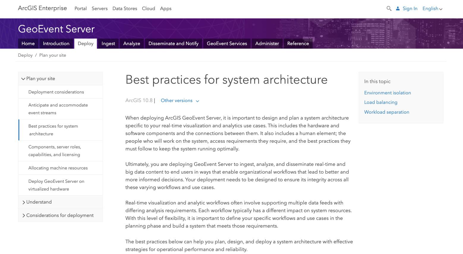 ArcGIS GeoEvent Server documentation page