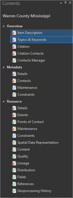 Contents pane metadata pages