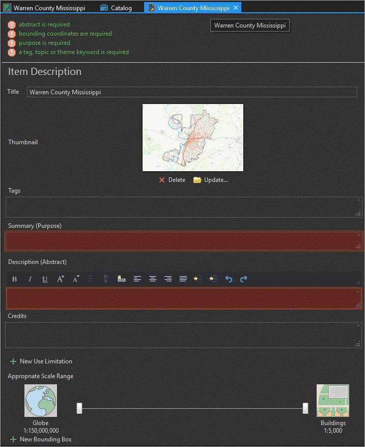 Metadata editor pane