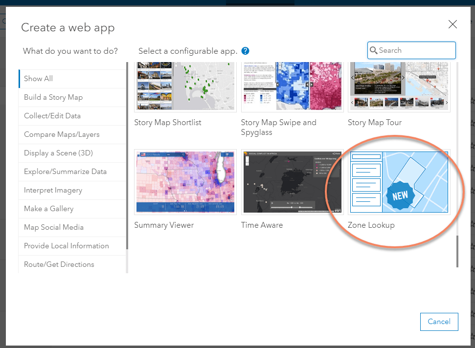 Zone Lookup selected in the Configurable Apps tab of the Create a New Web App window.