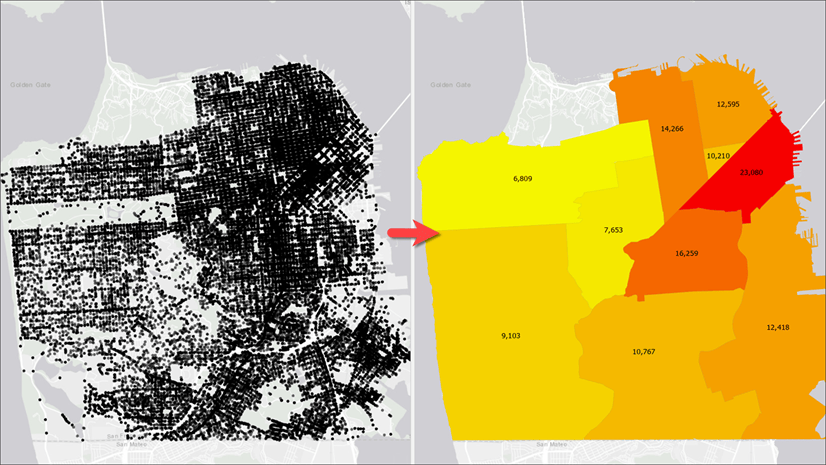 Map on the right shows crimes total for each districts by aggregating crime locations shown on the left
