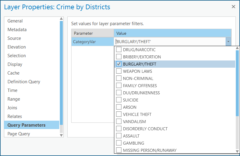 Select a crime type from Query Parameters tab