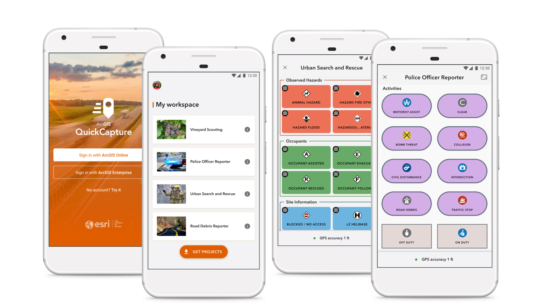 ArcGIS QuickCapture Screenshots in mobile devices