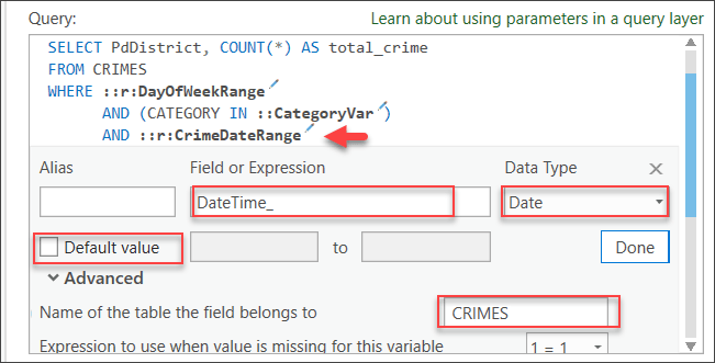 Defining a range parameter of date type