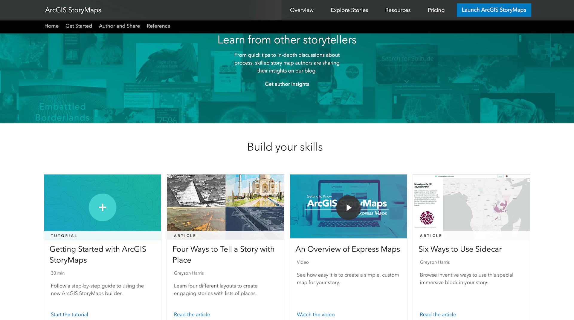 A screenshot of the ArcGIS StoryMaps website showing several resources for becoming a better storyteller