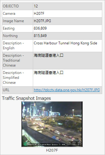 Pop-up including a photo from a traffic camera