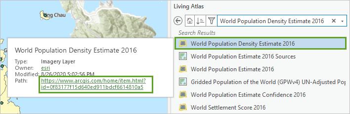 World Population Density Estimate layer in the Catalog pane