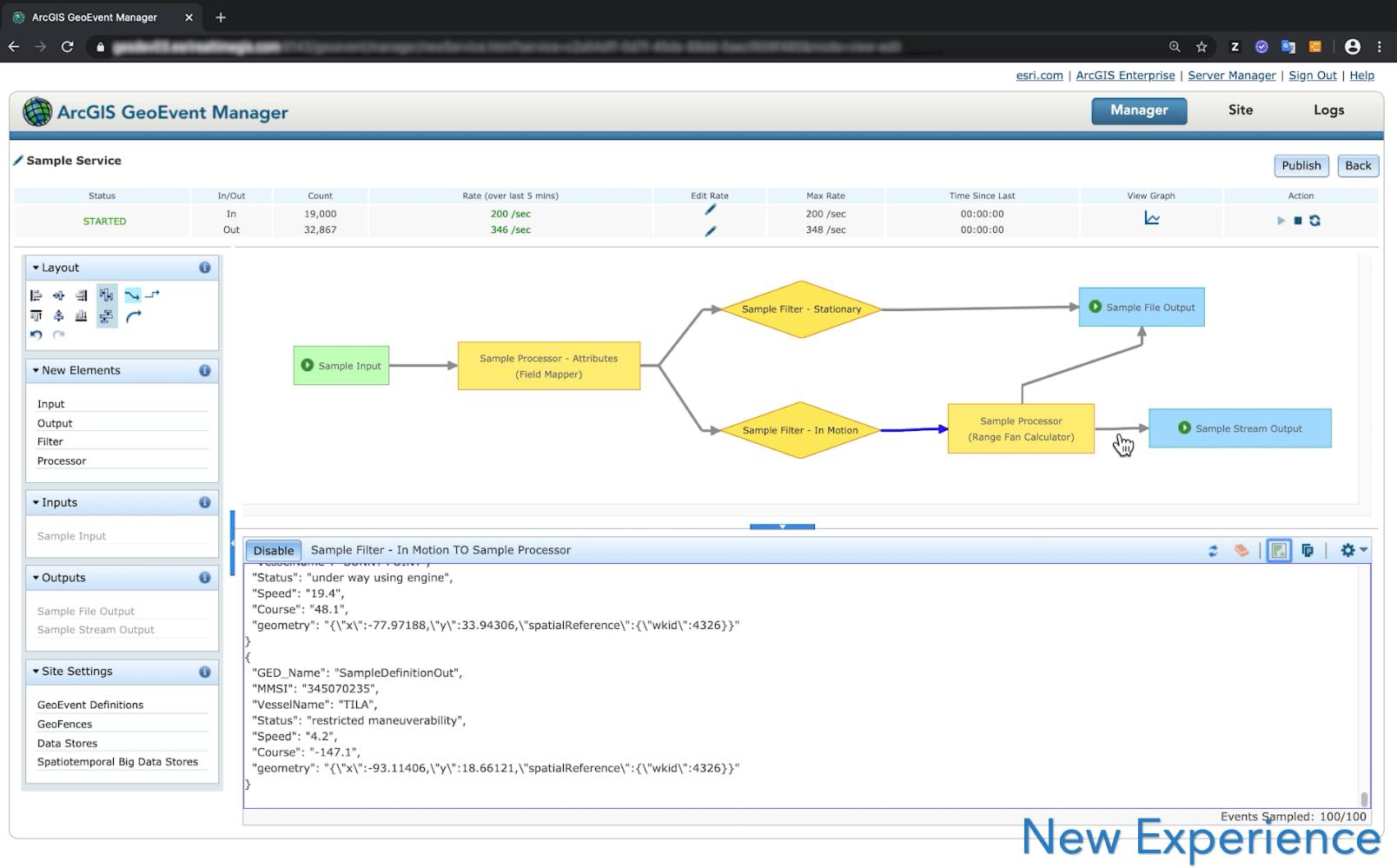 ArcGIS GeoEvent Server Manager dashboard