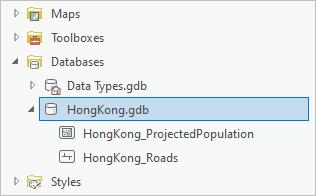 HongKong.gdb in the Catalog pane
