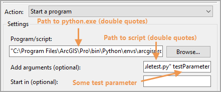 Task Scheduler action tab with test script parameters