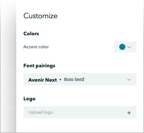 The custom options as they appear in the design panel