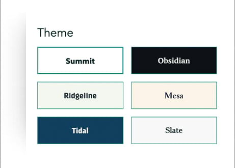The six theme options as they appear in the design panel