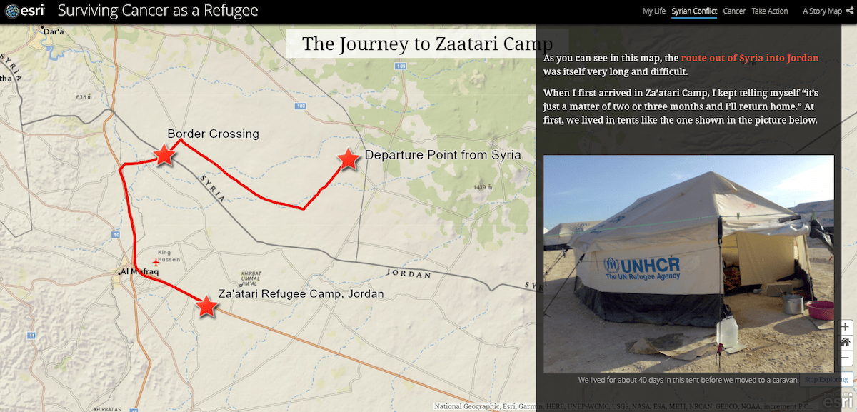 One of the maps in Yusuf's story, showing his journey fleeing Syria