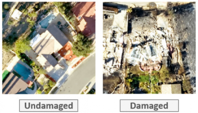 Resultant image chips (Labeled Tiles used for training the Damage Classification model)