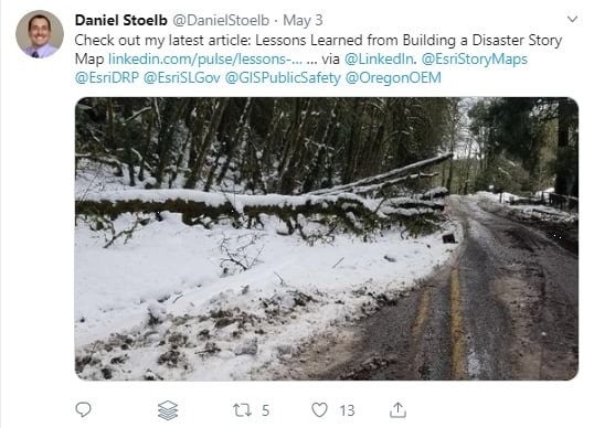 Tweet by Daniel Stoelb about the disaster story map