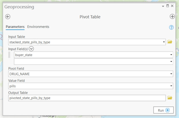 Geoprocessing tool dialog box.