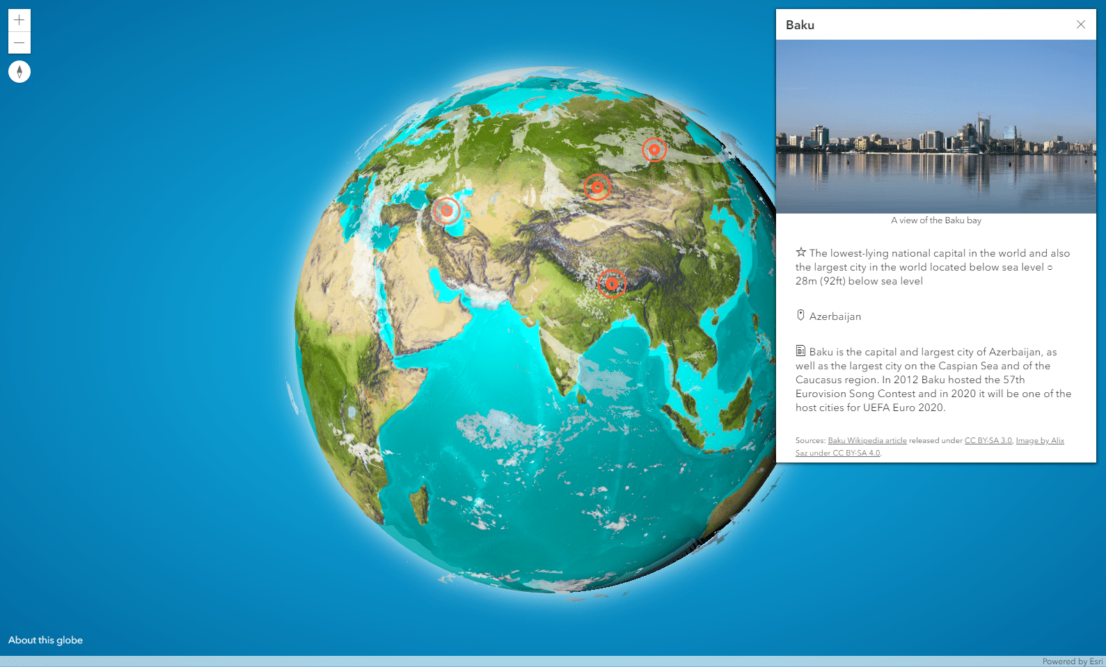 Screenshot of the interactive 3D globe