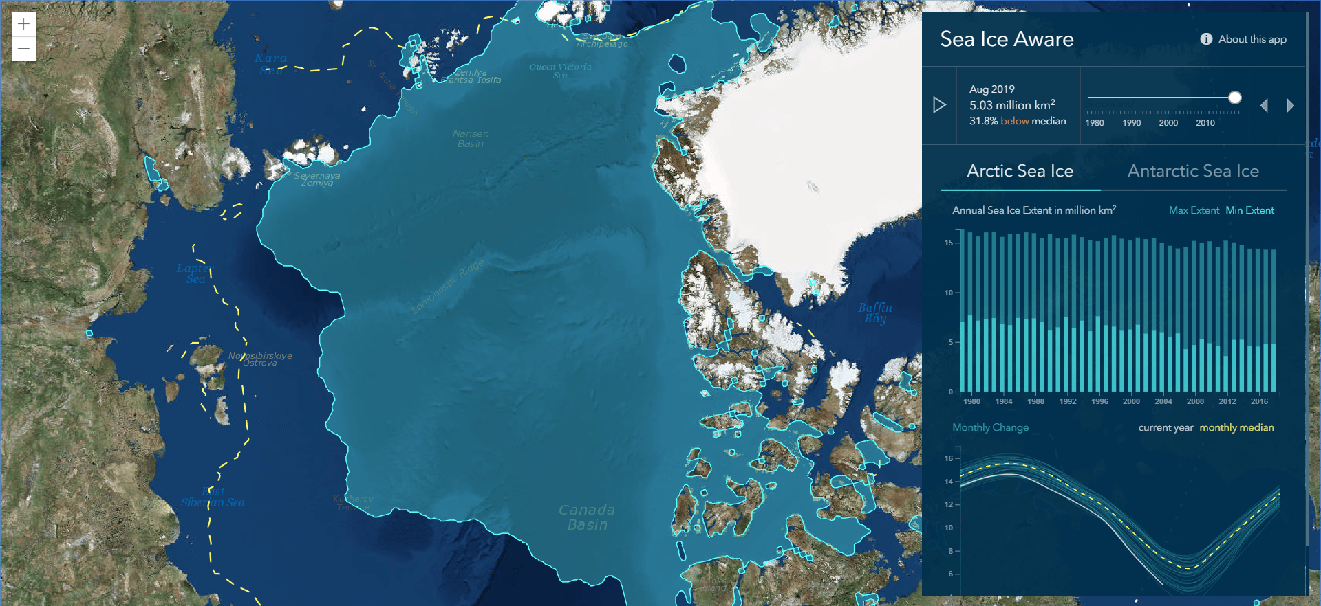 Sea Ice Aware app interface