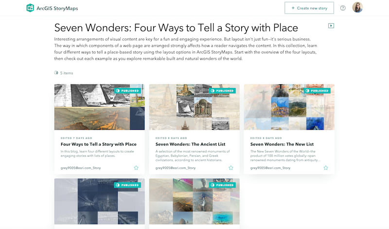 The overview of the 7 Wonders StoryMaps collection