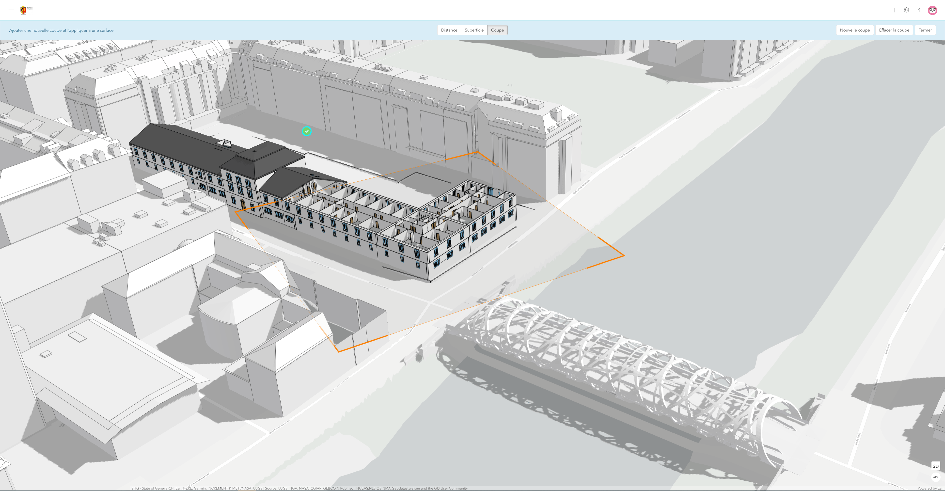 Detailed model of a bridge and the city's ancient Arsenal building visualized in Urban.
