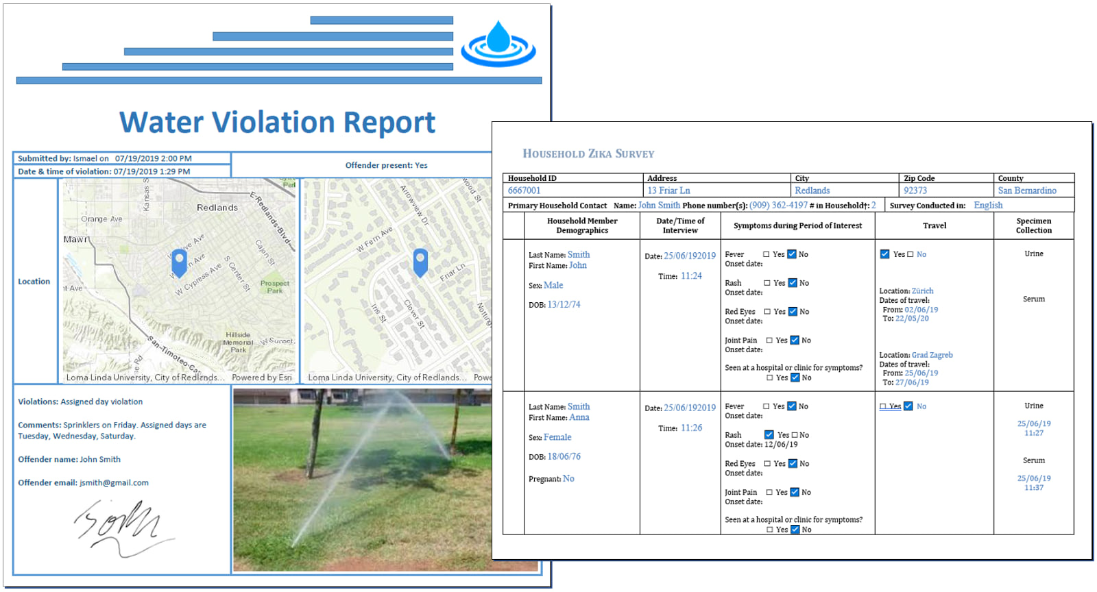Feature report template for a fictional water violation report.
