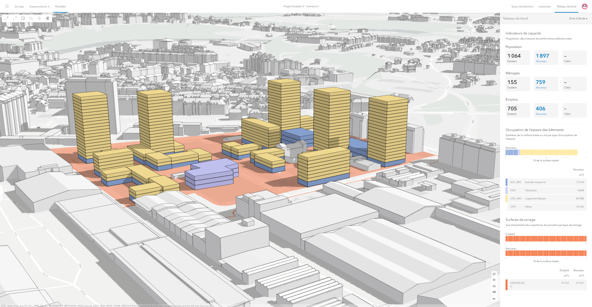 Design scenario of project Grosselin with plausible buildings and capacity indicators.