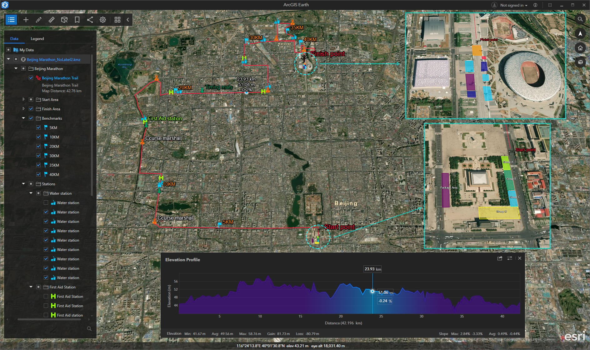 Display the plan of marathon with ArcGIS Earth