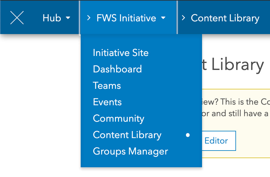 screenshot of the content library link from the site dropdown