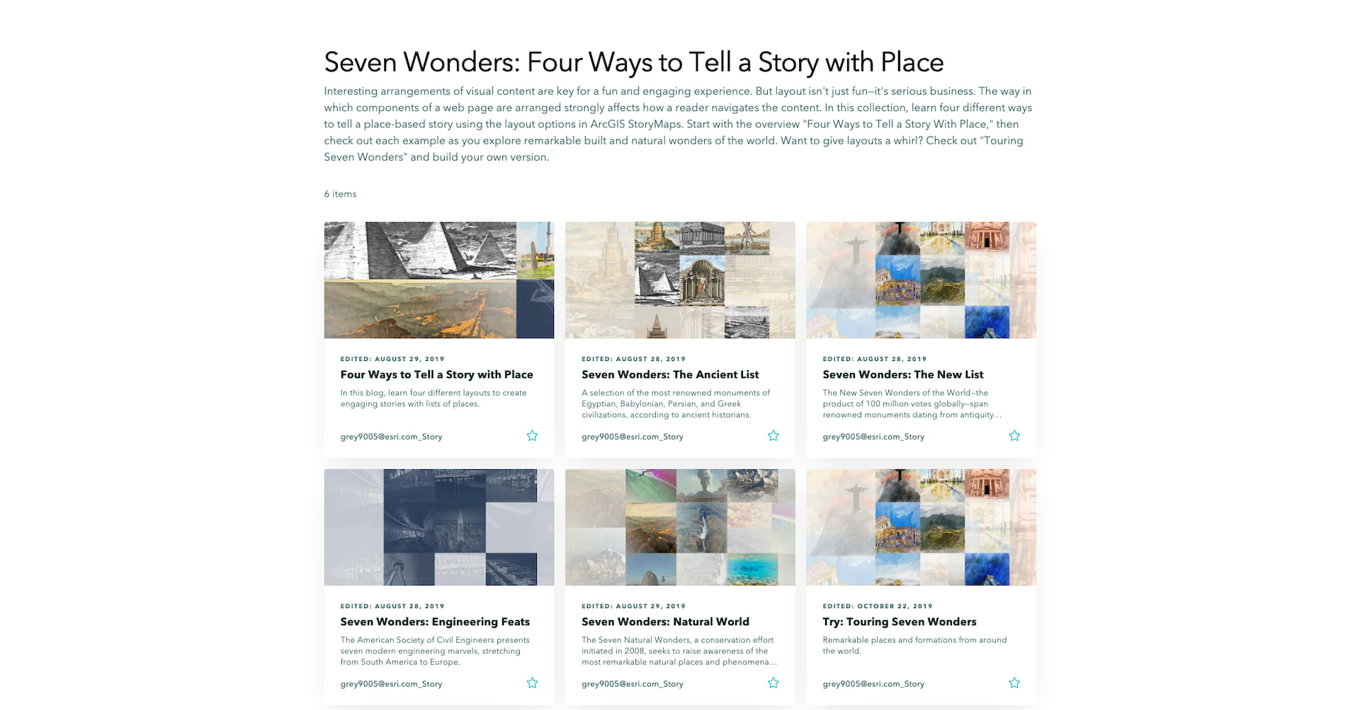 The overview page of the 7 Wonders story maps collection
