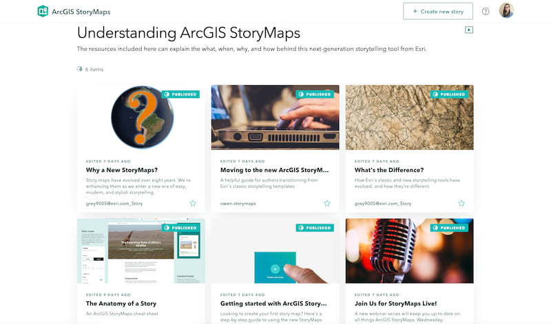 The overview for a group of stories explaining the basics of ArcGIS StoryMaps