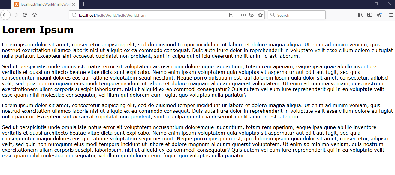 very simple website with lorem ipsum text
